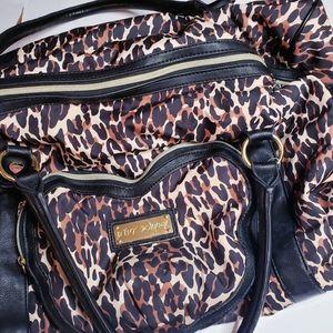 Betsy Johnson leopard duffel weekend bag